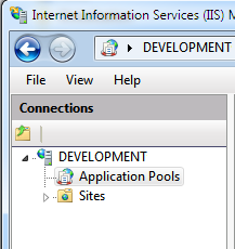Screenshot of the Application Pools item in the Connections pane.